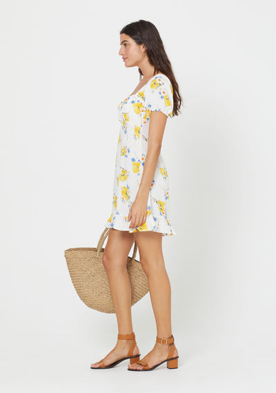 Madeline Davis Short Sleeve Mini Dress White - Auguste The Label