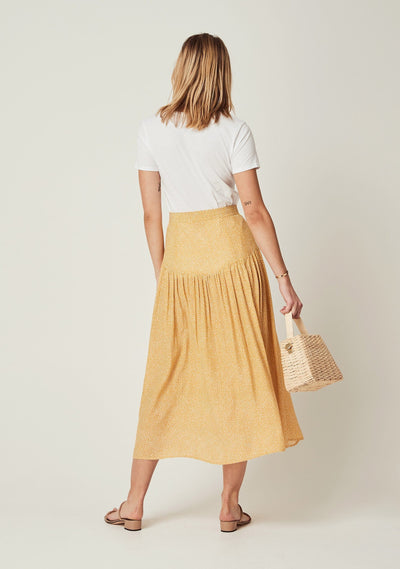 Tear Drop Brooks Midi Skirt Golden Sand - Auguste The Label