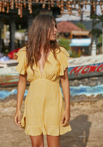 Tear Drop Sunday Mini Dress Golden Sand - Auguste The Label
