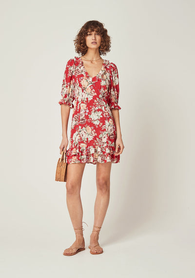 Reverie Skylar Mini Dress Red - Auguste The Label