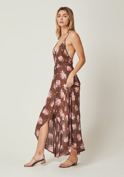 Roselle Backless Splash Maxi Dress Brown - Auguste The Label