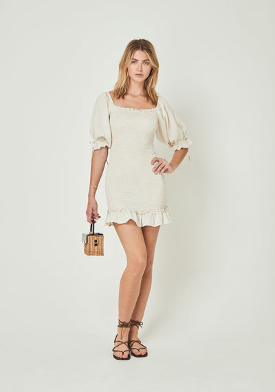 Lover Shirred Mini Dress Oatmeal - Auguste The Label
