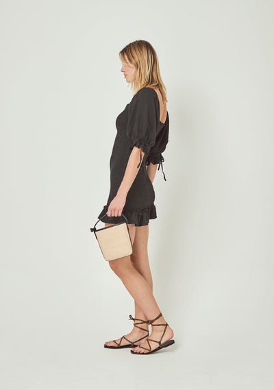 Lover Shirred Mini Dress Black - Auguste The Label