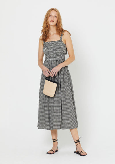 Gingham Ray Midi Dress Black - Auguste The Label