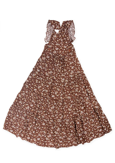 Cleo Pinafore Maxi Dress Brown - Little Auguste