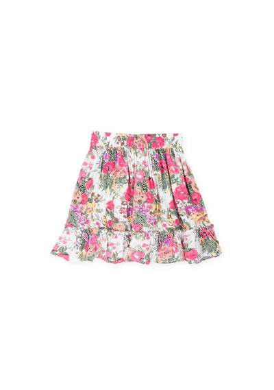 Provence Frill Hem Mini Skirt Natural - Little Auguste