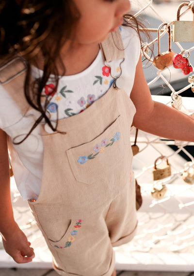 Twiggy Embroidered Overall Oat - Little Auguste