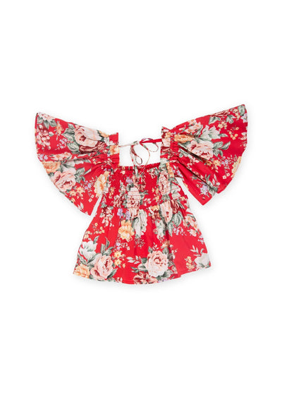 Reverie Penelope Blouse Red - Little Auguste