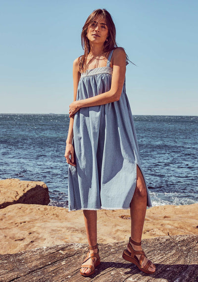 Tara Midi Dress Chambray Blue - Auguste The Label