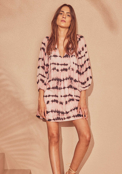 Tie Dye Willow Mini Dress Pink - Auguste The Label