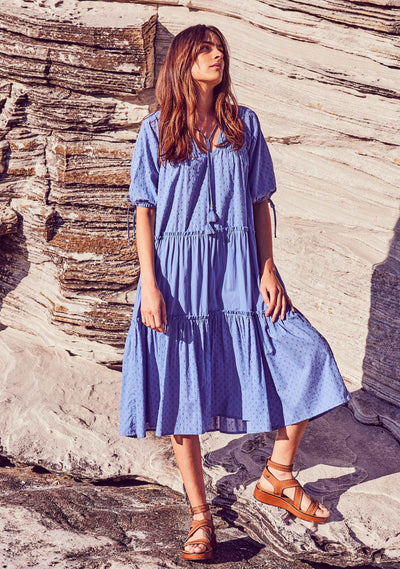 Scott Midi Dress Cornflower Blue - Auguste The Label