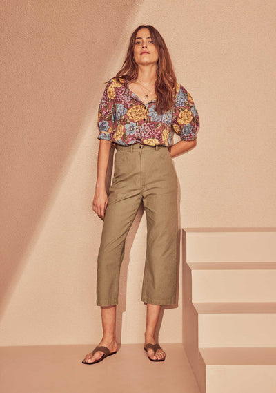 Cropped Tobie Pant Khaki - Auguste The Label