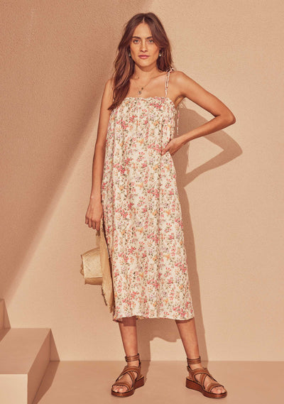 Fern Tie Strap Midi Dress Ivory - Auguste The Label