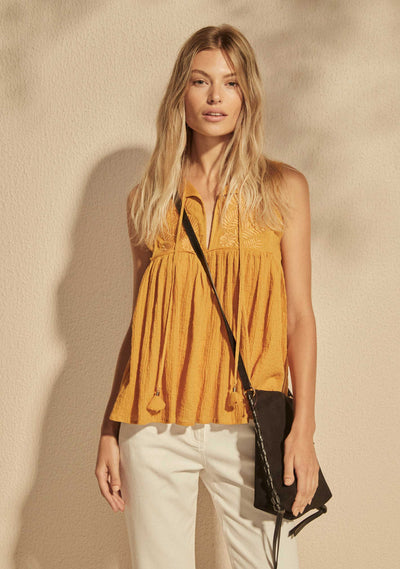 Embroidered Akira Blouse Amber - Auguste The Label