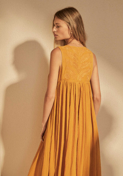 Embroidered Akira Midi Dress Amber - Auguste The Label