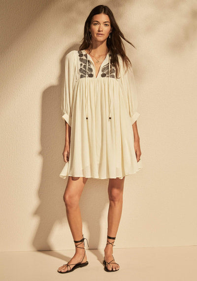 Embroidered Leisel Mini Dress Ivory - Auguste The Label