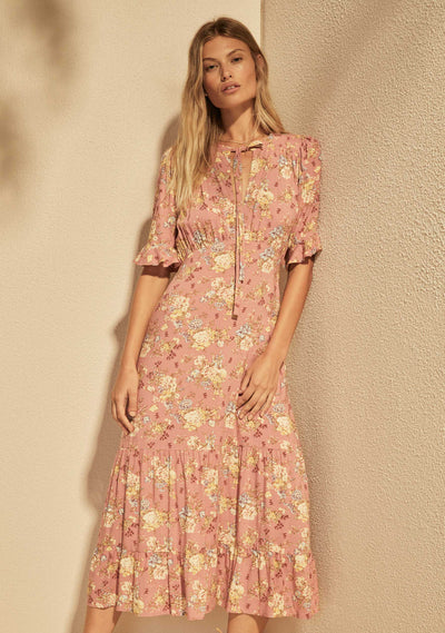 Lillian Viola Midi Dress Dusty Pink - Auguste The Label