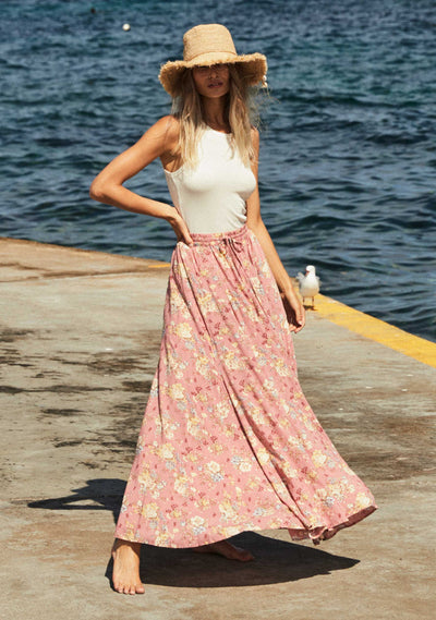 Lillian Anita Maxi Skirt Dusty Pink - Auguste The Label