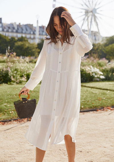 Lea Boyfriend Shirt Dress White - Auguste The Label