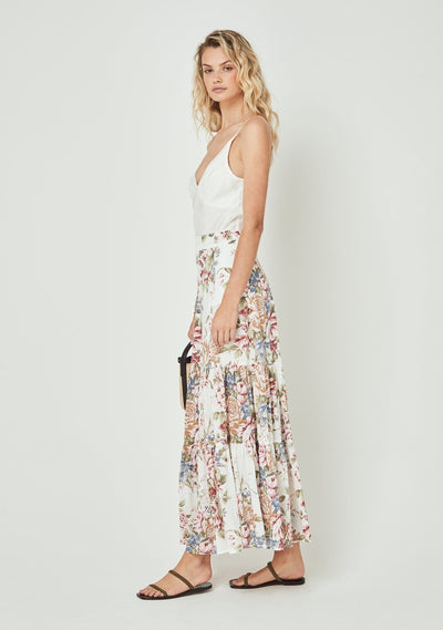 Sadie Violet Maxi Skirt Ivory - Auguste The Label
