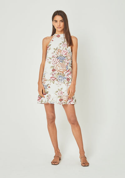 Sadie Nora Mini Dress Ivory - Auguste The Label