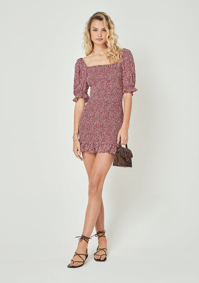 Marlowe Shirred Mini Dress Red - Auguste The Label