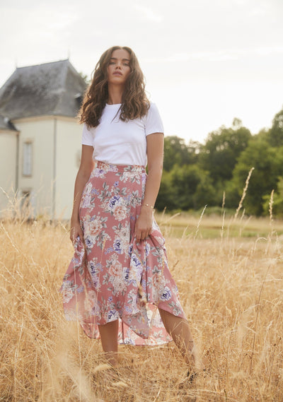 Pascal Fleur Wrap Midi Skirt Rose - Auguste The Label