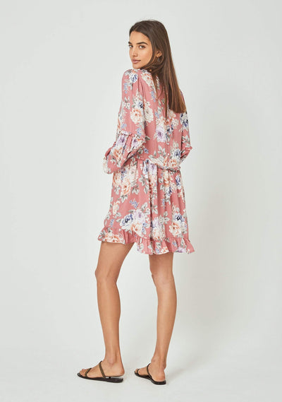 Pascal Helena Sleeved Mini Dress Rose - Auguste The Label