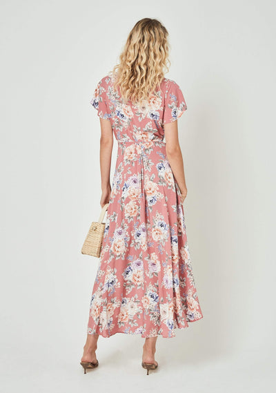 Pascal Muse Wrap Maxi Dress Rose - Auguste The Label