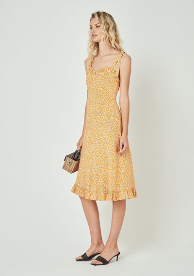 Dean Gia Midi Dress Yellow - Auguste The Label
