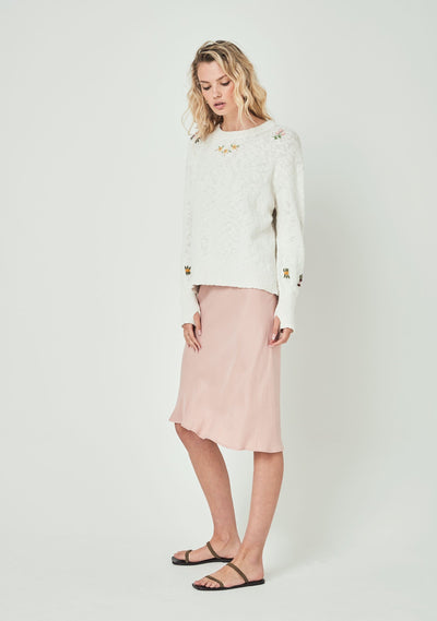 Eliza Embroidered Knit Off White - Auguste The Label