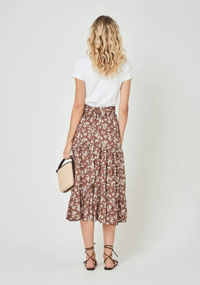 Matilda Farrah Midi Skirt Brown - Auguste The Label