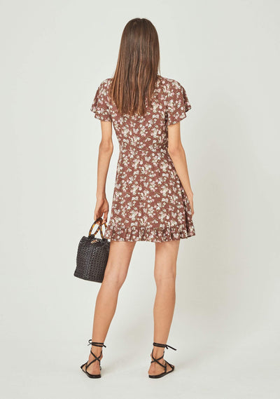 Matilda Pia Mini Dress Brown - Auguste The Label