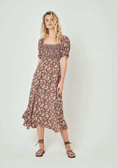 Matilda Nina Midi Dress Brown - Auguste The Label