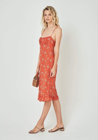Maeve Davis Midi Dress Pastel Orange - Auguste The Label