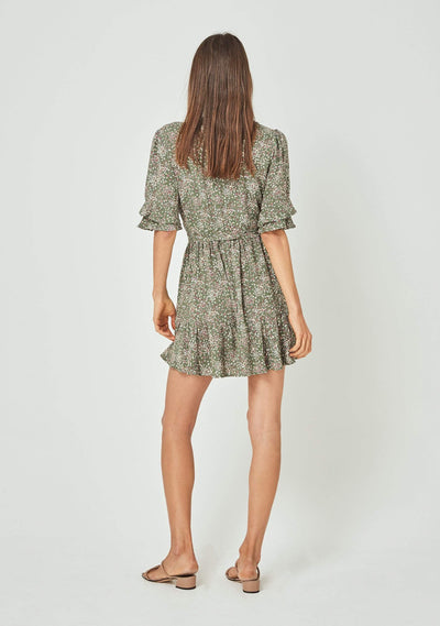 Gemima Poppy Wrap Mini Dress Khaki - Auguste The Label