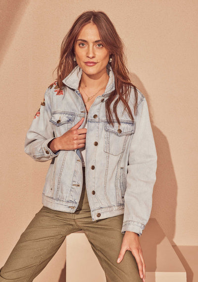 Elena Embroidered Jacket Denim - Auguste The Label