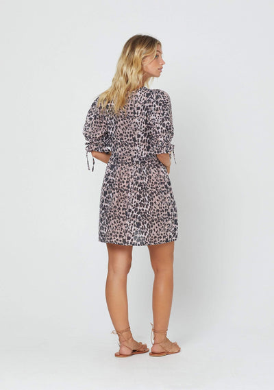 Wild Leopard Piper Mini Dress Pink - Auguste The Label