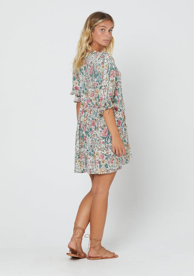 Spring Rose Piper Mini Dress Natural - Auguste The Label
