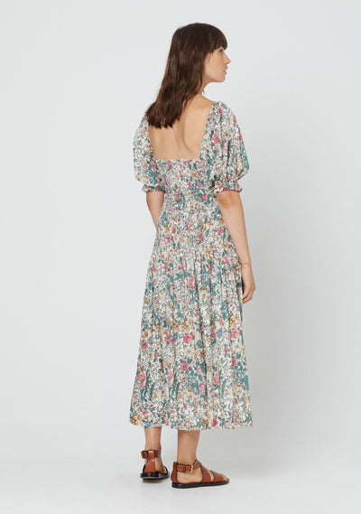 Spring Rose Abigail Midi Dress Natural - Auguste The Label