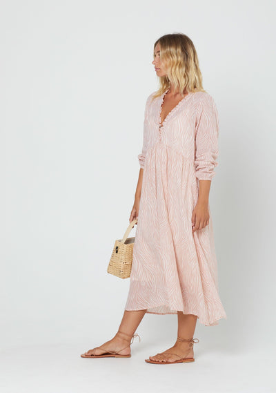 Zebra Cyprus Midi Dress Blush - Auguste The Label