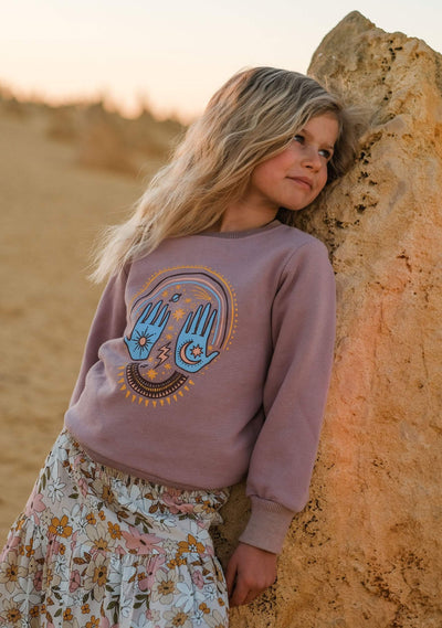 Cosmic Palms Sweater Purple - Little Auguste