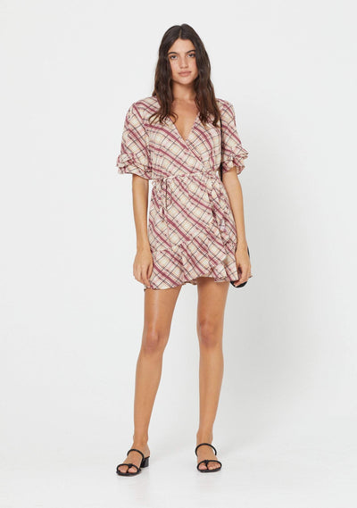 Sloane Rowen Wrap Mini Dress Plum - Auguste The Label