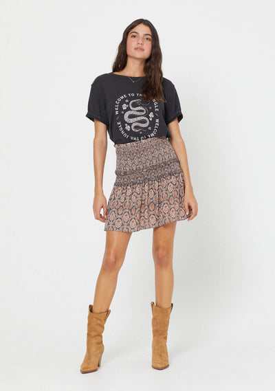 Montague Bennett Shirred Mini Skirt Ink - Auguste The Label