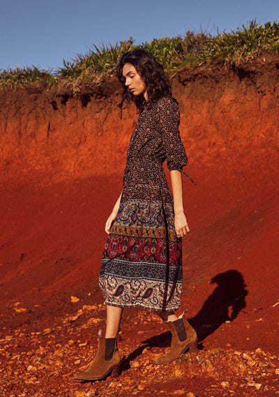 Bohemian Azalea Midi Dress Black - Auguste The Label