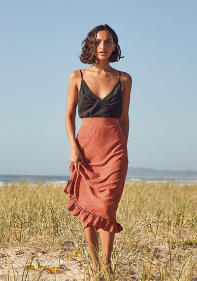 Florence Gia Midi Skirt Terracotta - Auguste The Label