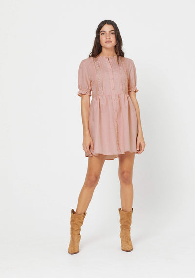 Mara Mini Dress Blush - Auguste The Label