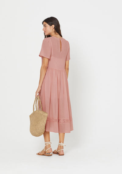 Elliott Midi Dress Blush - Auguste The Label