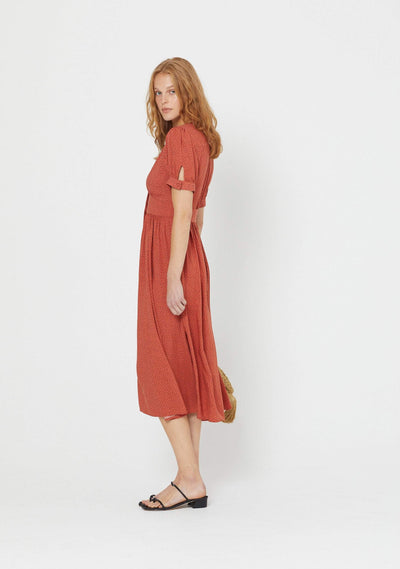 Florence Maple Midi Dress Terracotta - Auguste The Label