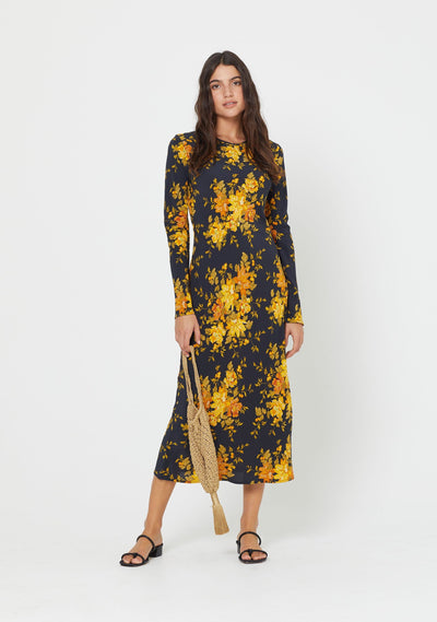 Devon Spencer Long Sleeve Midi Dress Black - Auguste The Label